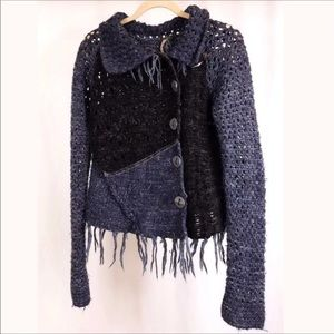 RARE FREE PEOPLE FRINGED Button Up SWEATER